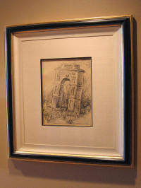 A sketch of the Leaning Tower of Pisa, hand-framed