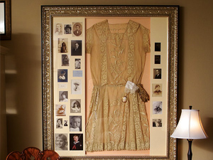 A Hand-Gilded Shadowbox Displaying Family Heirlooms